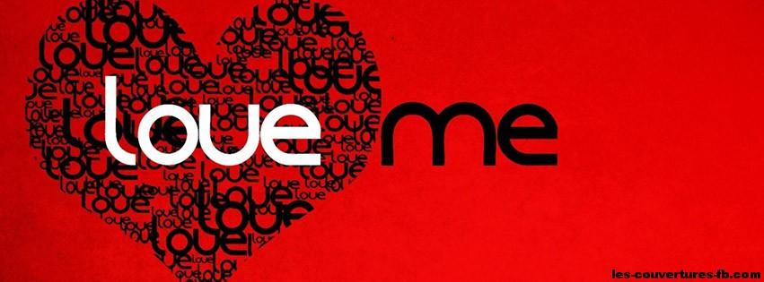 love me en rouge et noir photo de couverture facebook. Black Bedroom Furniture Sets. Home Design Ideas