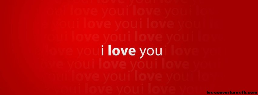 I Love You Wallpaper For Fb : Je t aime en blanc sur fond rouge - Photo de couverture Facebook