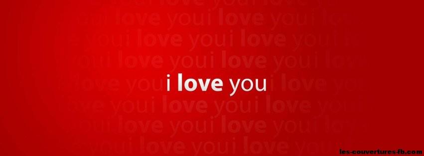 I Love You Wallpaper For Fb : Je t aime en blanc sur fond rouge - Photo de couverture Facebook